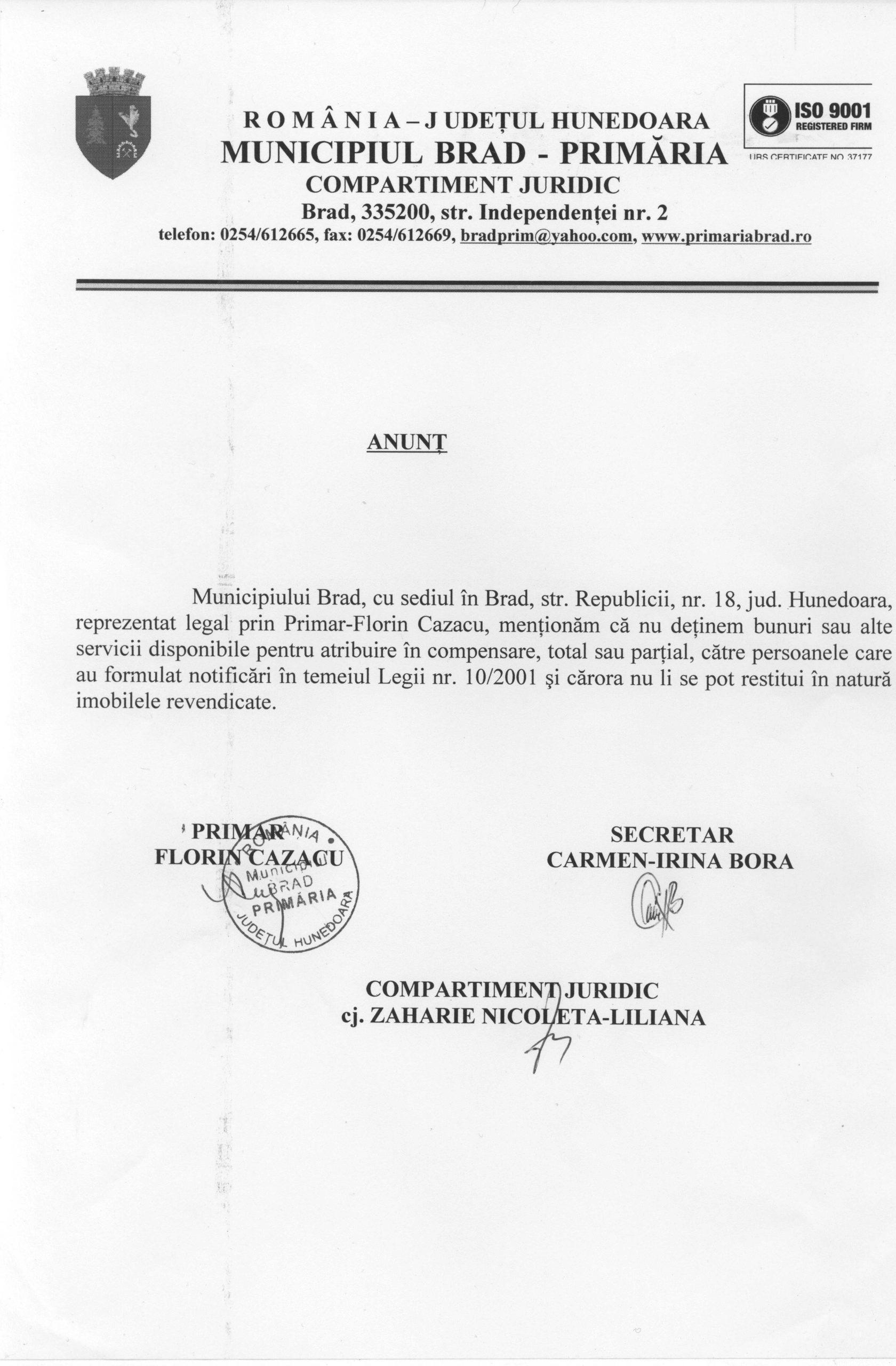 anunt legea 10/2001